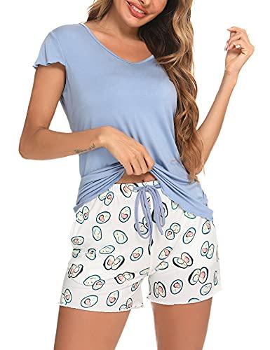 Hawiton Pijama Mujer Conjunto Pijama Mujer Verano Pijama Corto para Mujer Suave Transpirable Pijama Manga Corta para Mujer con Pantalón Corto,Azul,XL