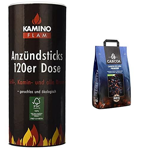 Kamino-Flam 333174 Juego De Pastillas De Encendido, 100 Unidades, Marrón + Carcoa Carbón Vegetal 3 Kg. Especial Para Barbacoa Y Grill. Rápido Encendido Y Larga Duración. Calidad Premium.