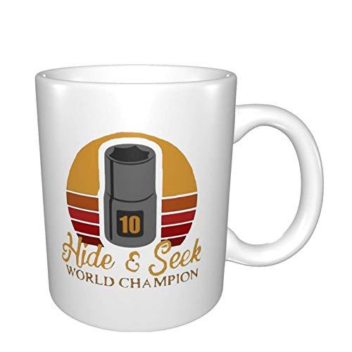 N\A hite Seek World Champion Impreso Taza de té de café de cerámica de Dos Caras Bebidas de té de Agua Taza fría y Caliente
