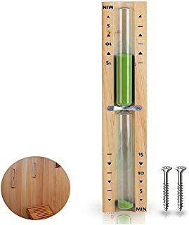 HENGBIRD Sablier de sauna avec minuteur de 15 minutes, résistant à la chaleur, sablier en bois vert sable