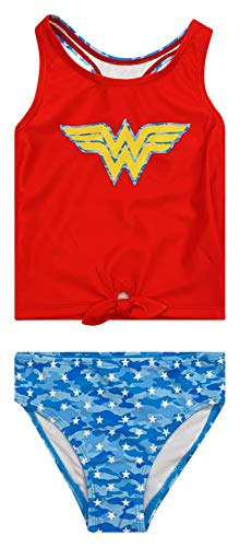 DC Comics Justice League Wonder Woman Little Girls Tankini Swimsuit Set Red/Blue 5-6