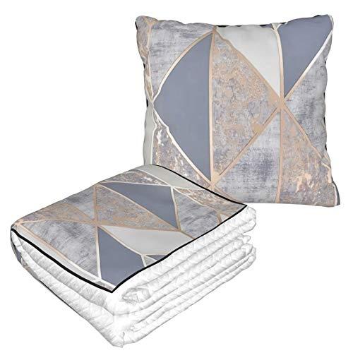 Manta de almohada de terciopelo suave 2 en 1 con bolsa suave Geo de oro rosa funda de almohada para el hogar, avión, coche, viajes, películas