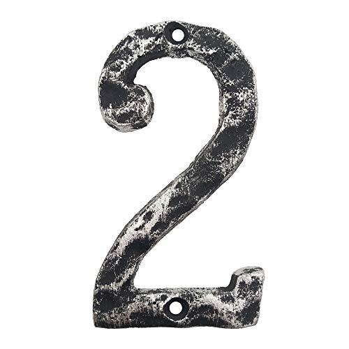 Hausnummern aus Gusseisen, 14 cm, massiv und robust, einfache Montage mit passenden Schrauben, antikes Silber-Finish