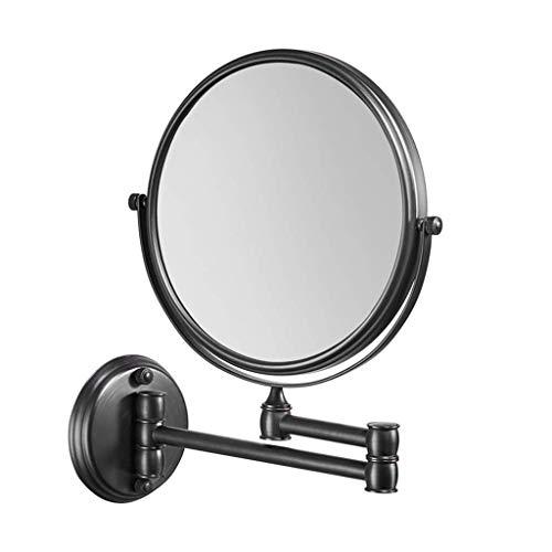 BXU-BG Espejo de tocador cosmético de doble cara con 3 aumentos de belleza, montado en la pared, telescópico, plegable, negro, 8 pulgadas (color: negro, tamaño: 8 pulgadas 3X)