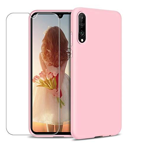 MICASE Funda para Samsung Galaxy A70 + Protector de Pantalla de Vidrio Templado, Carcasa Ultra Fino Suave Flexible Silicona Colores del Caramelo Protectora Caso Anti-rasguños Case - Rosa Claro