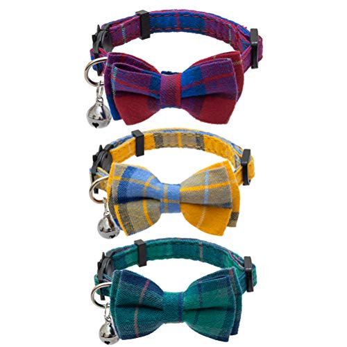 EXPAWLORER Breakaway Cat Collar with Bell and Removable Bowtie - 3 Pcs Cute Plaid Adjustable Safety Collars for Kitty, Puppy, Small Dogs, Colors of Red, Green, Yellow, 8