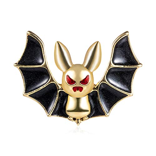 YONGHUI Creative Enamel Bat Brooches for Women Ladies Boys Girls Funny Animal Brooch Pin Badges Coat Jacket Uniform Blouse Accessories Jewellery (Black)
