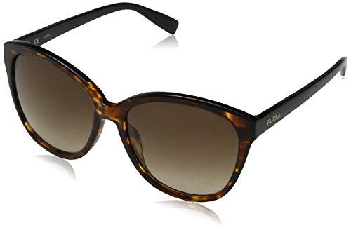 Furla Eyewear Damen N/A Sonnenbrille, Mehrfarbig (Shiny Brown Havana/Yellow), 56 SFU136