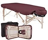 """EARTHLITE Premium Portable Massage Table Package SPIRIT - Spa-Level Comfort, Deluxe Cushioning incl. Flex-Rest Face Cradle & Strata Face Pillow, Carry Case (30/32"""" x 73"""") - Made in USA, Burgundy"""