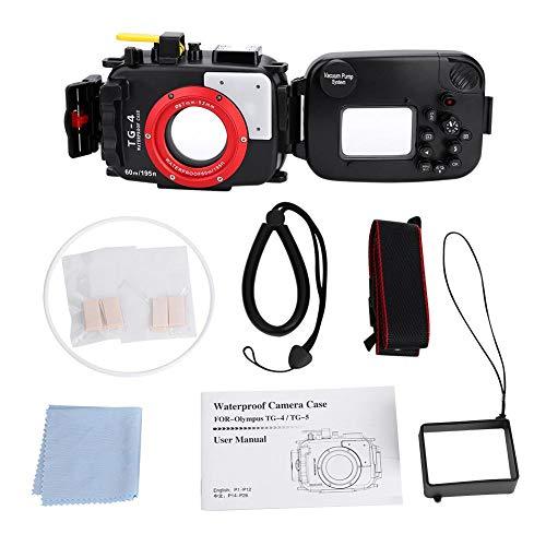 Elerose 60m / 195ft waterdichte onderwaterbehuizing Pro Duiken voor Olympus TG4 / TG5 52-67mm lens camera, Olympus TG4