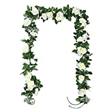 TSHAOUN 2 Piezas Guirnalda de Rosas Artificiales Flores, Falsas Rosa Vid Colgante Planta con Hojas para la Decoración del Banquete de Boda del Jardín del Hotel del Balcón 2 x 230 CM (Blanco)
