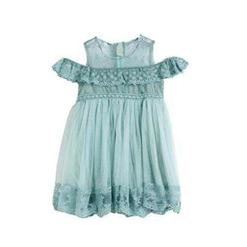 YWLINK Kind MäDchen Kinder Off Schulter Lace Floral RüSchen Prinzessin Klassisch Hochzeit Party Elegant Kleiden Mesh Patchwork Stickerei Formelle Kleidung(minzgrün,120)