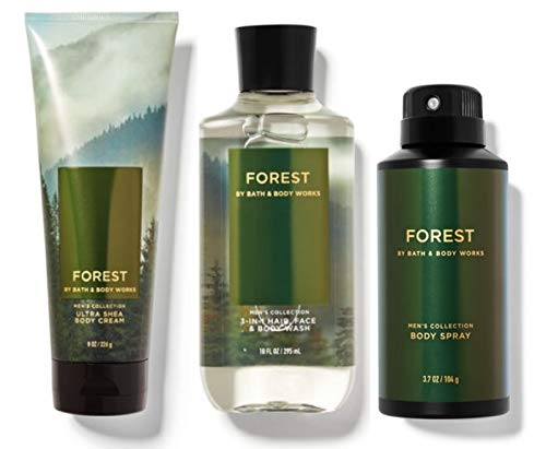 BATH AND BODY WORKS GIFT SET FOREST FOR MEN - Body Spray - Body Wash & Body Cream - FULL SIZE