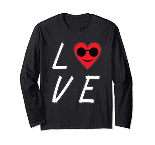 Love Heart Emoji mit Sonnenbrille Valentinstag Herz Emoticon Langarmshirt