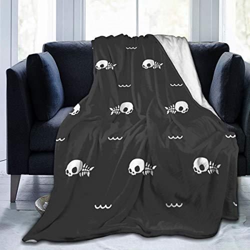 CLERO& Warm Manta de microfibra suave y acogedora y ligera para sofá, sofá, cama, Franela, negro, 60'x50'