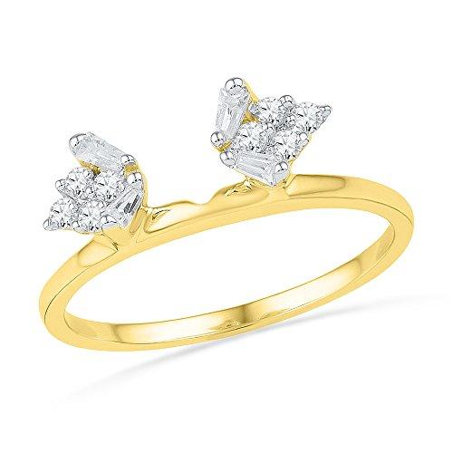 Jewels By Lux - Anillo de oro amarillo de 14 quilates para mujer con diamantes de imitación, mejorador de solitario, 1/4 quilates, ajuste de dientes (I1-I2 claridad; color H-I)