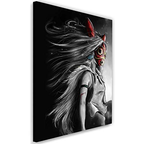 Feeby. Wandbild - 1 Teilig - 70x100 cm, Leinwand Bild Leinwandbilder Bilder Wandbilder Kunstdruck, Barrett Biggers - Mononoke Anime Fantasy Grau