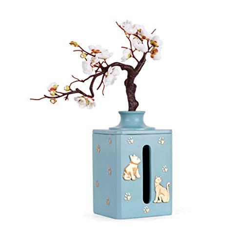 Creatividad Arreglo de flores Tissue Caja de pañuelo Resina Escritorio de escritorio Tapa de almacenamiento Cubierta Dispensador de tejidos faciales ( Color : Sky blue , tamaño : 13.5*13.5*23cm )