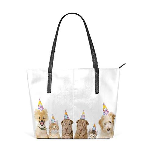 NR Multicolour Fashion Damen Handtaschen Schulterbeutel Umhängetaschen Damentaschen,Schutz-Hundeterrier-Katzen mit Kegel-Hut-Party-Thema-Geburtstags-Bild-Druck