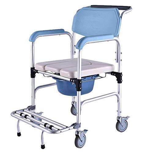 YANG Fahrbarer Toilettenstuhl Fahrbar als Toilettenstuhl und sicheren Toilettenrahmen Höhenverstellbar mit Rollen Rückenlehneund antirutschenden WC-Stuhl