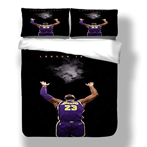 Duvet Cover Set LeBron Los Angeles Basketball Player 23 Bedding King James Lakers Super Star Double Team Playoffs Quilt Coverlet with 2 Pillow Shams Cleveland Miami Cavaliers Heat