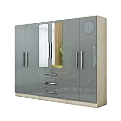 Gloss GREY wardrobe Delivered flat pack dimensions : width - 226.2cm depth - 46.5cm height - 187cm 2 mirrors