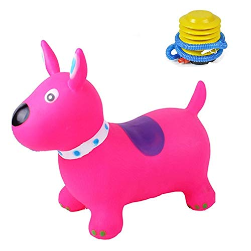 JISHIYU Dog Shape Jumping Cartoon Ride On Toy Hopper For Indoor/Outdoor Play Send Air Pump