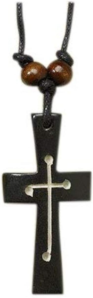 CB Carved Resin and Wood Black Overlay Cross Pendant on Cord Chain, 2 1/8 Inch