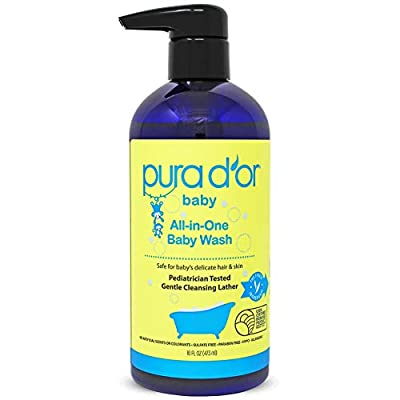 PURA D'OR All-in-One Baby Wash (16oz / 473ml) USDA Biobased, Zero Sulfates, No Artificial Scents, Tear-Less, Hypoallergenic, Gentle, Calming 2-in-1 Baby Bath Wash & Shampoo (Packaging may vary)