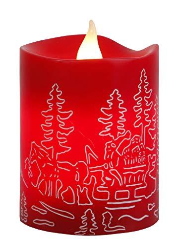 Star 066-96 Led-kaars met echte was, flikkerend, timer, Santa in slee op batterijen, zichtkarton, 10 x 8 cm, rood