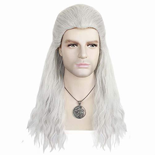 Cosplay Geralt di Rivia Parrucca Naturale di Seta a Temperatura Elevata Sintetica Traspirante Uomini Regolabile Ispirato Witcher Halloween Cosplay Parrucche