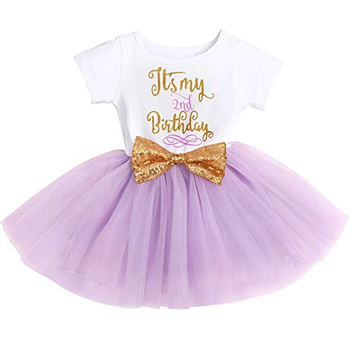 It's My 1st/2nd Birthday Outfit Toddler Baby Girl ONE Party Tutu Dress for Kids Halloween Pageant Half/First Onesie Crown Infant Skirt Sets for Photo Props Costume Lavender-(Two) 2Y