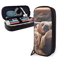 Sloth Mom and Baby Puレザーペンシルケース、大容量ペンバッグ、学校のオフィス用のダブルジッパー弾性ベルト付き耐久性のある学生の文房具オーガナイザー1.5インチX 3.5 X8インチ