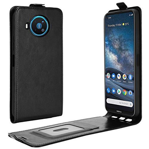 HualuBro Nokia 8.3 Hülle, Premium PU Leder Brieftasche Schutzhülle HandyHülle [Magnetic Closure] Handytasche Flip Hülle Cover für Nokia 8.3 5G Tasche (Schwarz)