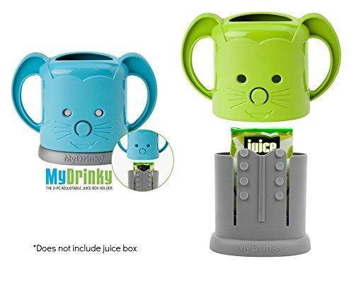 MyDrinky - The Adjustable Juice Box Holder 2 Pack (Lime/Aqua)