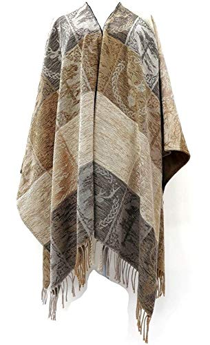 """Calzeat Celtic Stag & Pine Monarch Ruana Wool & Chenille 59"""" x 78 ¾"""" Made in Scotland …"""