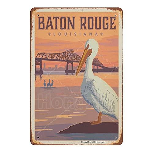 HONGXIN BATON ROUGE LOUISIANA Vintage Metal Sign Art Poster Retro Plaque Iron Painting Garden Cafe Bar Wall Decor 8 × 12 Inch