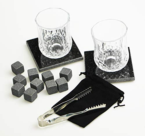 Whiskey Stones Premium Gift Set - 10 All Natural Granite Chilling Rocks with 2 Whiskey Glasses, Velvet Bag, Tongs, and Elegant Pinewood Box - Gift for Men Dad Boyfriend Anniversary or Retirement