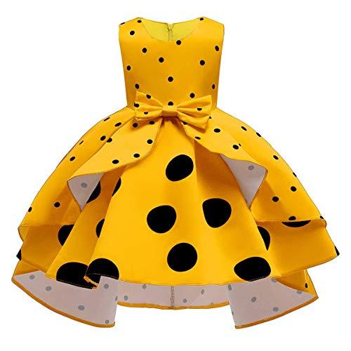 IMEKIS Kinder Blumenmädchen Kleid Vintage Polka Dots Rüschen Partykleid Prinzessin Hi-lo Tutu Rock Bowknot Hochzeit Festlichkleid Geburtstag Festzug Ballkleid Gelb 2-3 Jahre