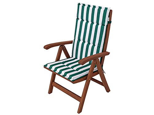 Cojín para silla de jardín con respaldo alto, 114 x 45 x 4 cm, color verde con rayas