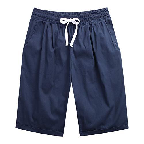 LAEMILIA Shorts Femme Eté Casual Pantalon Courte Grande Taille Bermudas Coupe Ample Basique Simple Souple Uni Lacet (FR42, Bleu foncé)