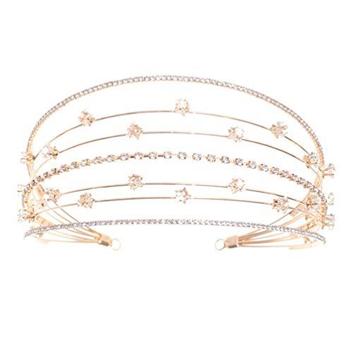 Lurrose Diadema de cristal para el pelo con diamantes de imitación, corona...