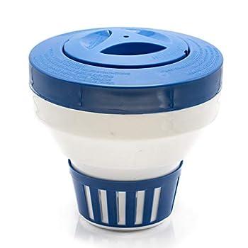 WWD POOL Floating Pool Chlorine Dispenser Fits 1-3  Tabs Bromine Holder Chlorine Floater  Blue