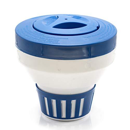 """Floating Pool Chlorine Dispenser for Chemical Tablets Fits 3"""" Tabs Bromine Holder Chlorine Floater (Ocean Blue)"""
