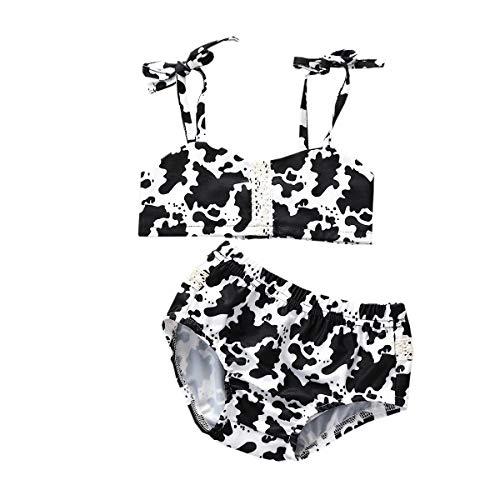 JOMOO Kids Swimsuits for Girls Cute Bikinis for Kids Modest Swimsuits for Girls Baby Girl Swimsuit 3-6 Months Leopard-Black