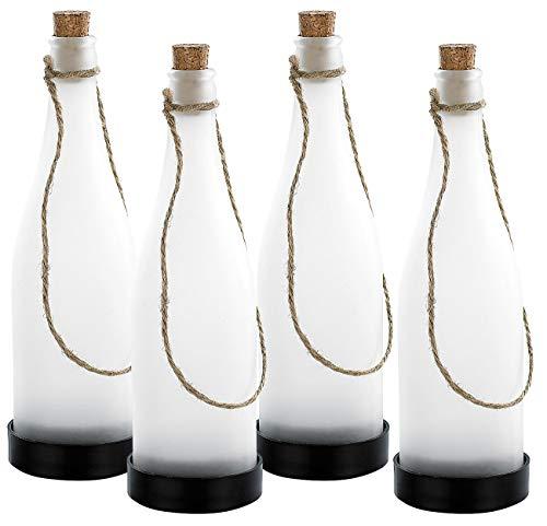 Lunartec Solar Flasche: Solar-LED-Lampe Flaschenpost, weiß, 4er-Set (Solarflaschen)