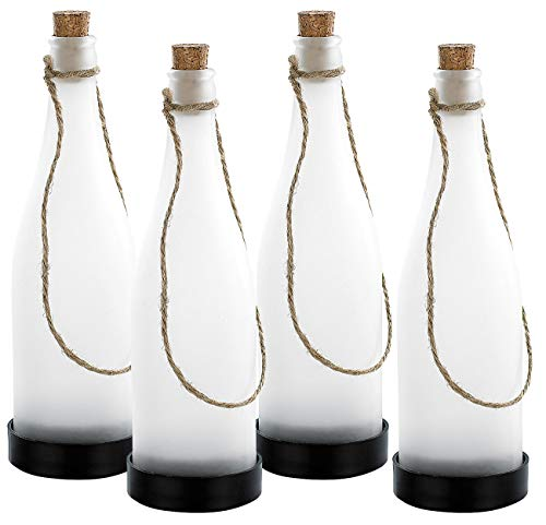 Lunartec Solar Flasche: Solar-LED-Lampe Flaschenpost, weiß, 4er-Set (LED Flaschenlicht)