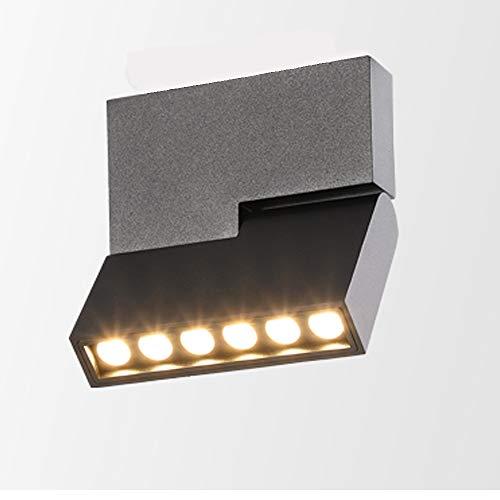 HAOFU Lámpara de techo LED Plafón con Focos Giratorios Bajo consumo 12W 230V 3000K, luz Blanco cálido 1000lm 83Ra IP20 13.3 x 11.6 x 2.6CM (Negro)