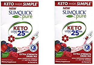 SLIMQUICK Pure Weight Loss Drink Mix Designed for Women, Mixed Berries 26 ea (Pack of 2)