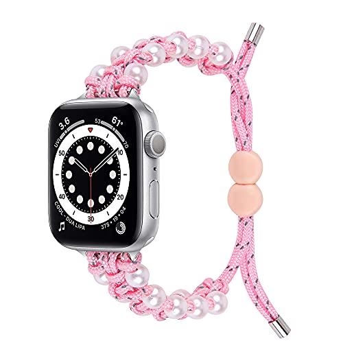 CHENPENG Compatible con Bandas de Reloj de Apple 44 mm 40 mm 38 mm 42 mm, Correa de Bucle Trenzada Ajustable, elásticos Deportivos Trenzados elásticos para iWatch SE Series 6/5/4/3/2/1,D,38/40MM